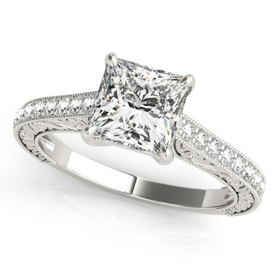 Princess Cut Diamond Ring In 14K Gold
