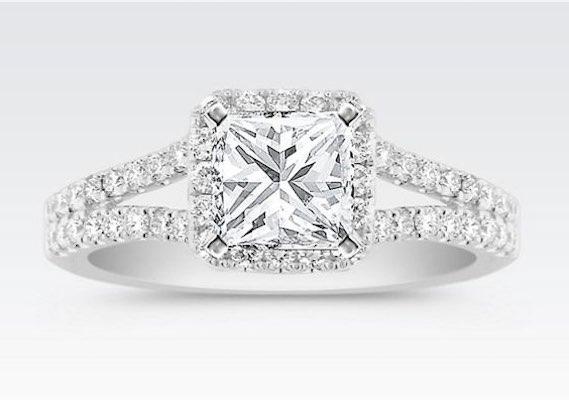 Princess Cut Diamond Square Engagement Ring with Halo Diamonds
