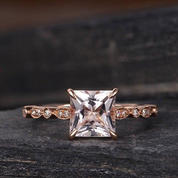 Princess Cut Halo Engagement Ring 14K White Gold