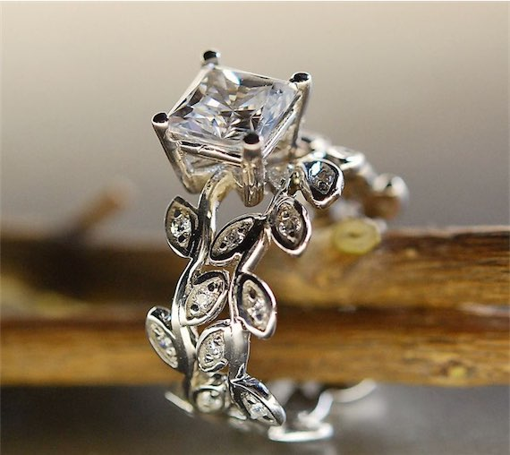 Princess Cut Moissanite Engagement Ring in 14k White Gold