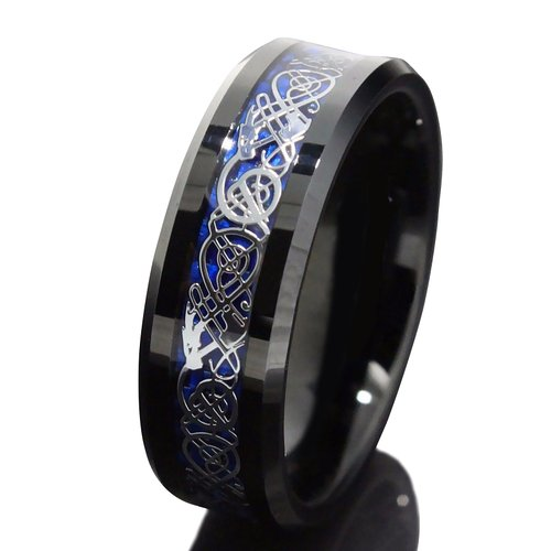 Queenwish 8Mm Black Tungsten Carbide Ring