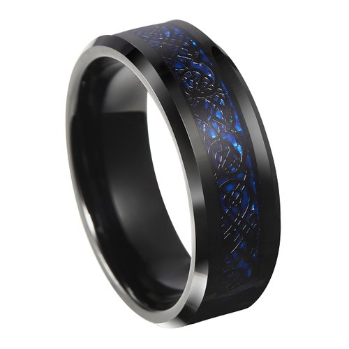 Queenwish 8Mm Blue Black Silvering Wedding Band