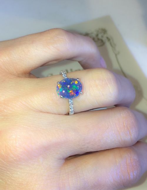 rainbow opal engagement rings - Black Opal Wedding Rings