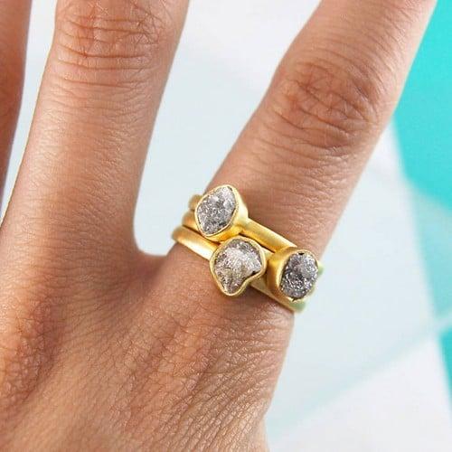 Raw Rough Diamond Rings