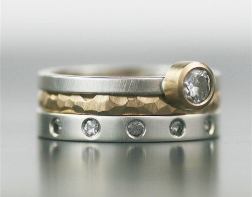 Recycled Gold and Moissanite Wedding Ring Set