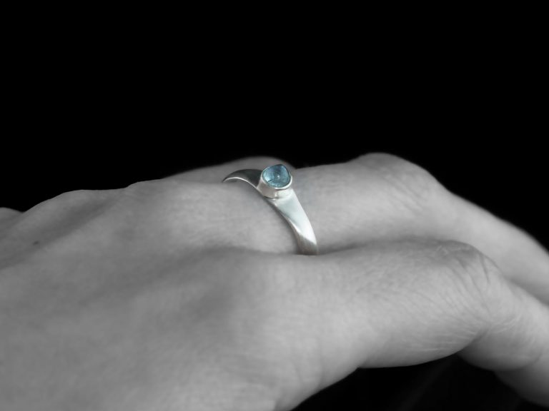 Aquamarine Ring Silver Blue Engagement