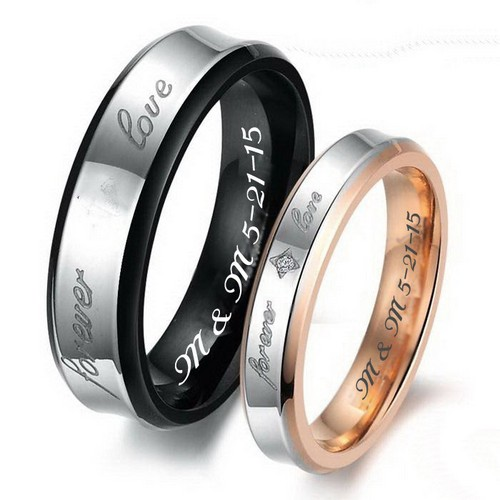 Rose Gold Promise Rings Band