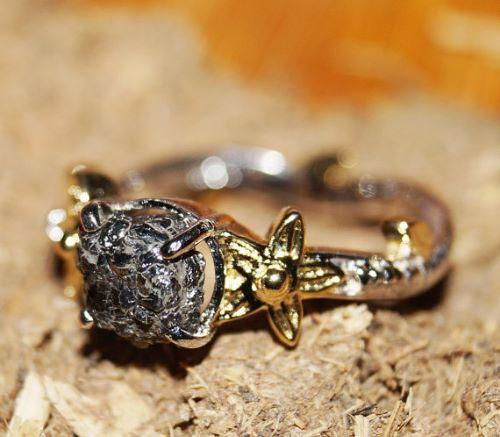 Rough Diamond Engagement Ring Etsy