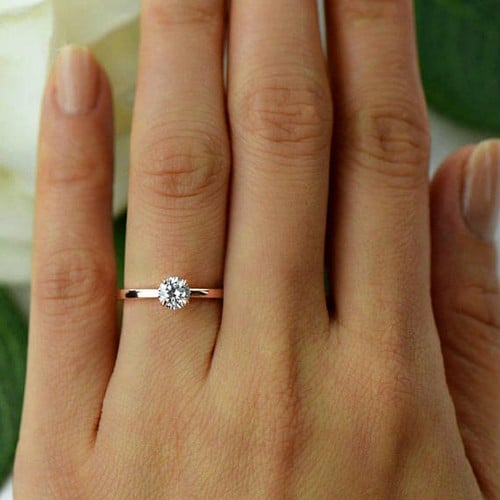 Solid 925 Sterling Silver Halo Engagement Ring