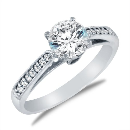 Sonia Jewels Solid 14K White Engagement Ring 1.5Ct.