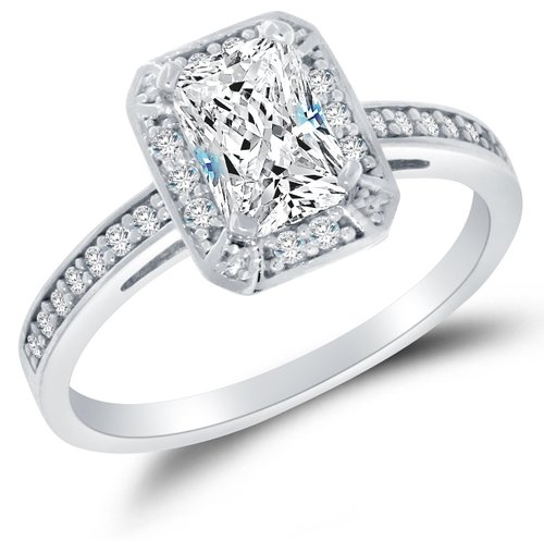 Sonia Jewels Solid 14K White Gold Engagement Ring