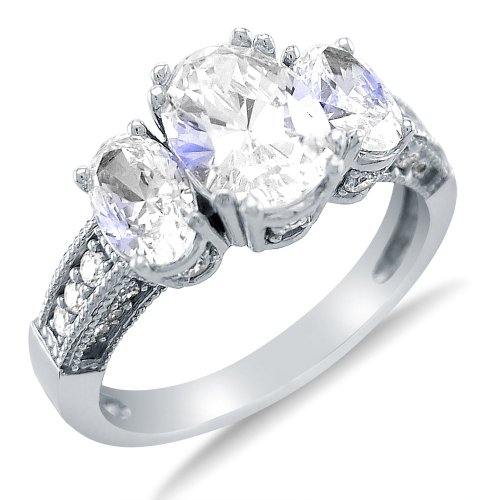 Sonia Jewels Solid 925 Sterling Silver Engagement Ring 2.5Ct.
