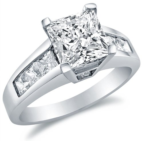 Sonia Jewels Solid 925 Sterling Silver Princess Cut Engagement Ring 1.75Ct.
