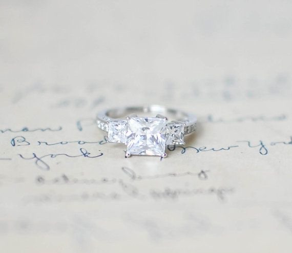 Three Stone Princess Cut Engagement Ring