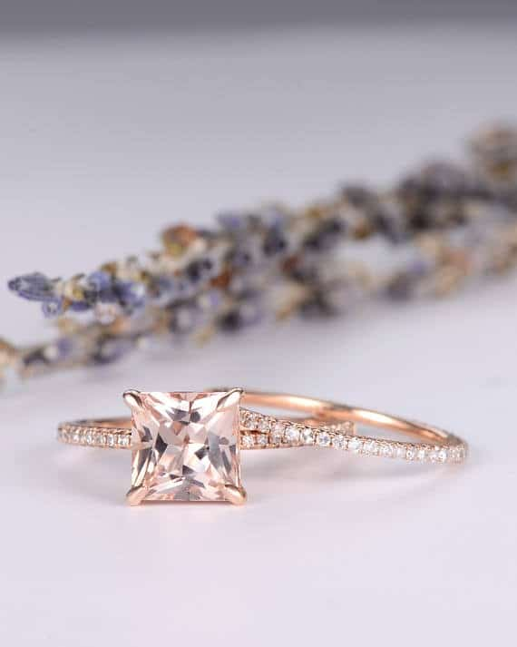 Twisted Princess Cut Diamond Engagement Ring