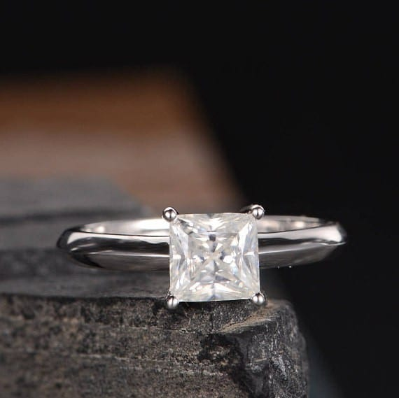 Vintage Engagement Ring 14K White Gold Princess Cut