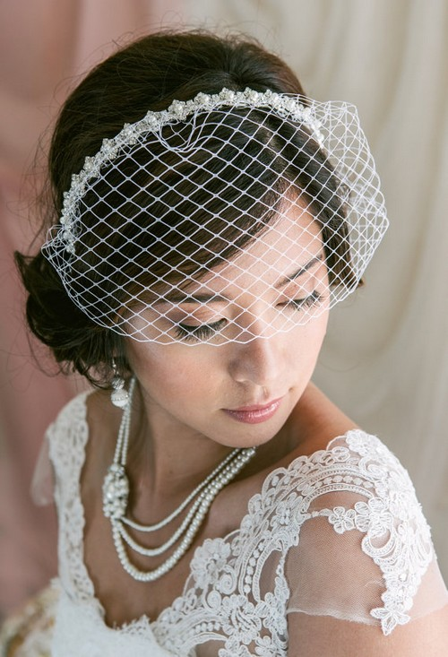 29 pretty birdcage veils and how to make one ring to perfection vintage wedding birdcage veil solutioingenieria Images