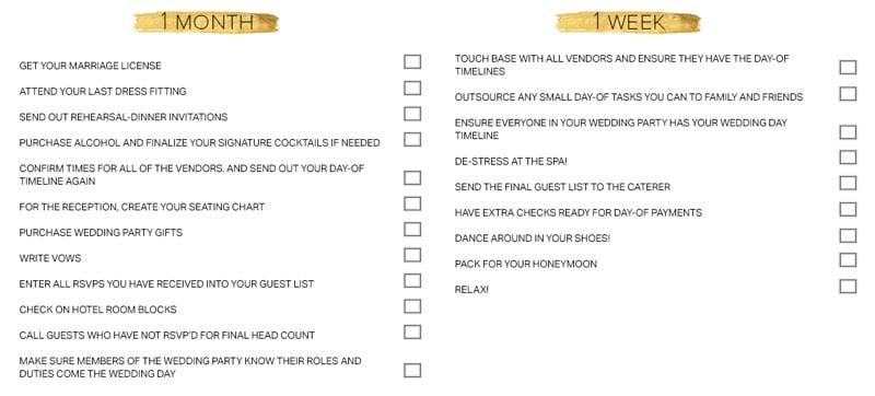 Wedding Preparation Checklist 1 Months Week