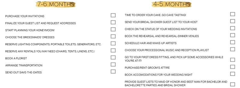 Wedding Preparation Checklist 6 Months