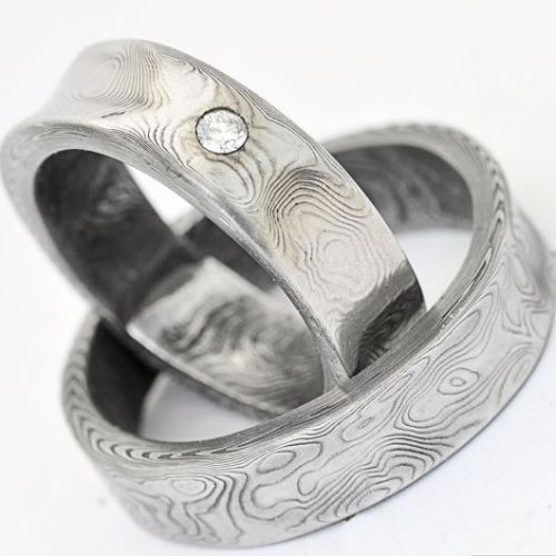 taWedding Rings Two Tone With Diamonds