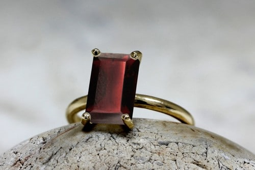 White Gold Garnet Rings