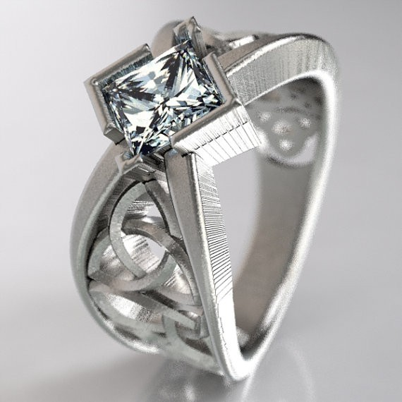 White Gold Princess Cut Engagement Ring