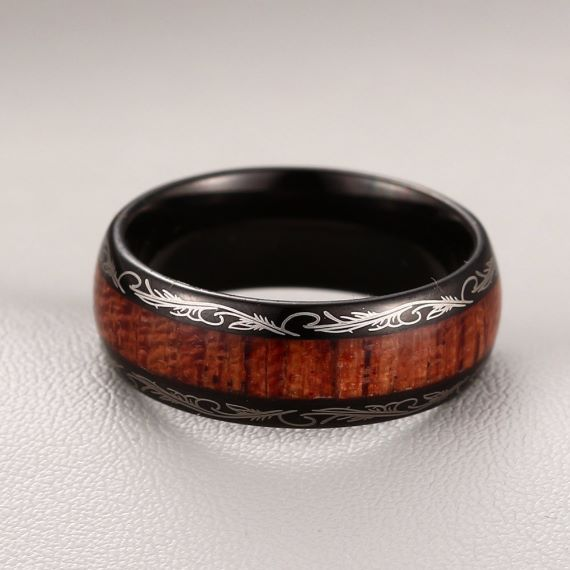 Wooden Stainless Steel Unique Mens Wedding Bands