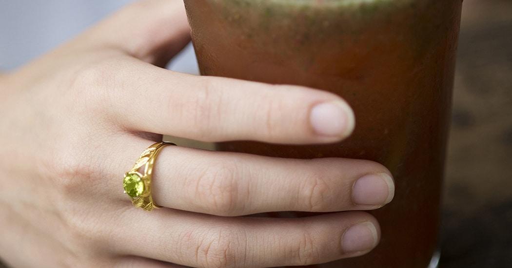 Yellow Gold Peridot Ring